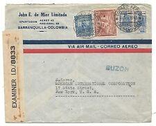 WW2 Columbia to New York Censored Via Jamiaca Air Mail Cover 1943