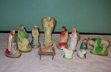 Vintage 11 Piece Nativity Set Nativity Ceramic Figures Plaster Religious Figures