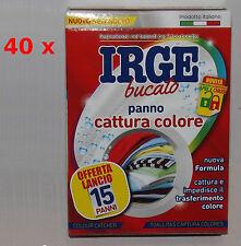 40 X Panno Lavatrice bucato Cattura Colore Irge 15 fogli = 600 fogli