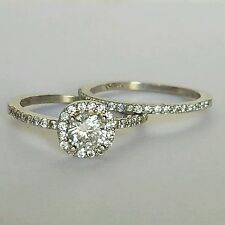 1.7 C Wm 14K white Gold 2 piece round halo Engagement Wedding Ring band Set s6.5