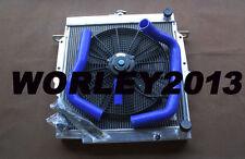 Aluminum radiator + fan + Blue hose for LandCruiser 75 Series 2H Diesel HJ75 MT