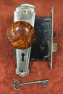 Antique Mortise Steel Lock Set with Key, Plates, and Marble and Steel Knobs