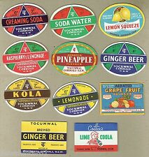 #D87.  RARE COLLECTION OF TOCUMWAL NSW CORDIAL BOTTLE SOFT DRINK LABELS