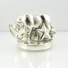 Statuina segno zodiacale toro in resina laminato argento Zodiacal sign Taurus