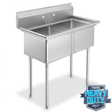 Open Box - 2 Compartment Stainless Steel Commercial Kitchen Prep & Utility Sink