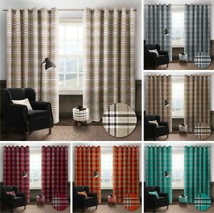 """Thermal Tartan Check Ring Top Eyelet Curtains Ready Made Lined Width 66"""" / 90"""""""