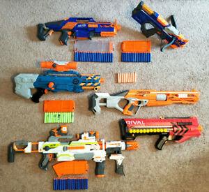 Lot 6 Nerf Guns Rapid Strike Crossbolt Zombie Squad Alpha Hawk Modulous Rival +