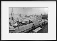 c1883 photograph of Fall River steamboat pier, New York Summary: Bird's-eye view