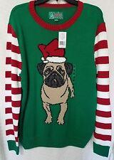 NEW Pug Christmas Sweater Size Medium M Holiday Ugly Dog Pet Funny Holiday Party