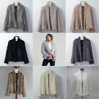 Women's Genuine Rabbit Fur Thick Knitted Natural Coat Jacket Outwear Overcoat