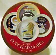 "Boston Warehouse Boxed Set of 4 Plates Coffee Bistro Dark Roast Espresso 6 1/2"""