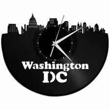 Washington DC Vinyl Wall Art Clock Cityscape Vintage Bedroom Decor Unique Gift
