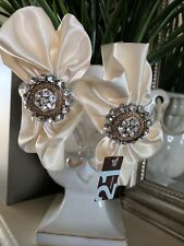 *Forever 21* cream/ivory satin fabric diamante gems head/hair bands lot of 2 NEW