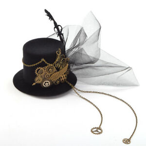 Victorian Steampunk Gear Butterfly Mesh Mini Top Hat Hair Clip Costume Headwear