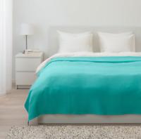 BLANKET Bedspread TURQUOISE 100% Cotton Soft QUEEN 91 x 98 in Ikea Indira *NEW*