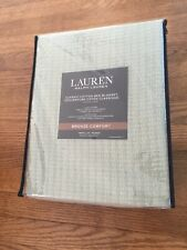 New Ralph Lauren Woven Textured Weave Green Twin Classic 100% Cotton Blanket