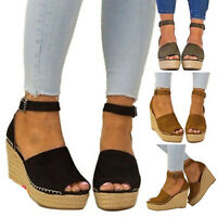 AU Women Ankle Strap Open Toe Wedge Sandals Espadrilles Platform High Heel Shoes