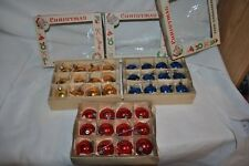 vintage 36 GLASS MERCURY solid CHRISTMAS ORNAMENTS Red, Gold, blues in boxes