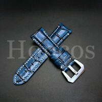Unique Royal Blue Genuine Leather Alligator Croco. Pattern Watch Strap Band 20mm