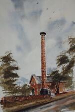 Victorian Pumping Station AJ Daniel Watercolour Painting 1989 British School