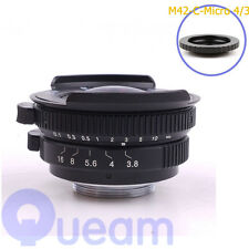 8mm F3.8 Fish-eye CCTV Lens For C Mount Camera OM-D E-M10 II E-M5 II E-M1 E-M5