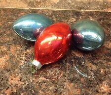 3 Vintage Glass Christmas Ornaments Light Bulb Shape Blue Orange