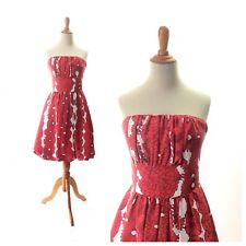 Tracy Reese dresss 4 Red Floral anthropologie vintage Pinup 50s 1950s hawaiian S