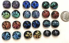 12 Pair DICHROIC Fused Art Glass Earring Cabochons Accent Tiles 1/2""