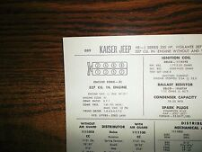 1967 Kaiser Jeep EIGHT Series J Models Vigilante 250 HP 327 CI V8 Tune Up Chart