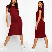 New boohoo Cap Sleeve Berry Bodycon Dress Midi Casual Blogger Party Jersey UK 4