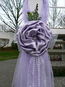 BREATHTAKING Lilac Chair Bows, Pew Bows,  White, Lavender, Church Aisle decor,