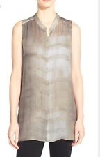 M EILEEN FISHER BONE NWT OXIDIZED PRINTED SILK GEORGETTE LONG SHIRT BUTTON DOWN