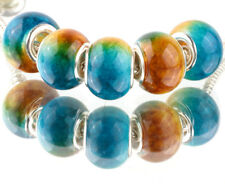 5pcs SILVER MURANO Gradient spacer beads fit European Charm Bracelet DIY B#933