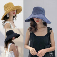 Women's Anti-UV Wide Brim Summer Beach Cotton Bucket Sun Protective Hat UK