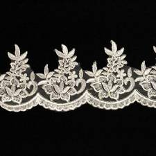 1 METRE WHITE & SILVER LACE TRIM 110mm SEW ON WEDDING DRESS VEIL TRIMMING HL1145