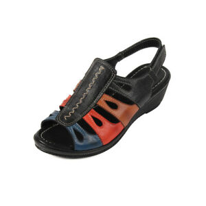 Footsoft Antibes Ladies Casual Sandals Black multi size 6 EU 39