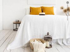 LINEN BEDSPREAD. Queen size optical white linen blanket throw