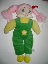 PLUSH STUFFED DOLL GIRL PIG TAILS YARN PINK HAIR OVERALLS GREEN TOY