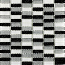 GLITTER BRICK GLASS MOSAIC BLACK WHITE & SILVER ( sample  )