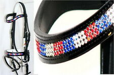 Fss Curve Crystal Red Clear Blue Bling Comfort White Padded Patent Gloss Bridle