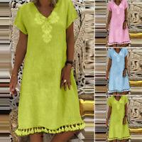 ZANZEA Womens Summer Floral V Neck Beach Dress Casual Tassel Mini Party Dresses