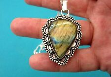 925 Sterling Silver Pendant With Natural Golden Labradorite (nk1181)