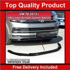 VW TRANSPORTER T6 LOWER FRONT ABS GLOSS BLACK SPLITTER SPOILER BUMPER ADD ON LIP
