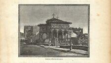 Stampa antica BUCAREST BUCURESTI Biserica Stavropoleos 1893 Old Antique Print