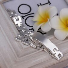 "Women's Mens Unisex Sterling Silver Plated ID Bracelet 8"" L22"