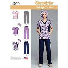 Simplicity 1020 AA Pattern Scrubs Pants Tops & Hat US Size W10 W18