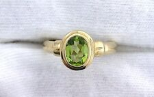 10Kt REAL Yellow Gold Oval 9x7 Peridot Gemstone Gem Ladies Fashion Ring ES99R57