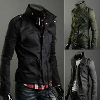 Mens Button Military Slim Fit Collar Jacket Hooded Coat HOT New Stylish M-4XL