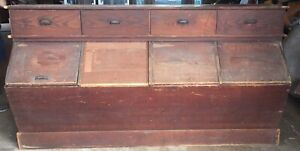 Antique General Country Hardware Store Feed Bin Fabric Counter