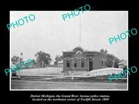 OLD LARGE HISTORIC PHOTO OF DETROIT MICHIGAN GRAND RIVER POLICE STATION c1880